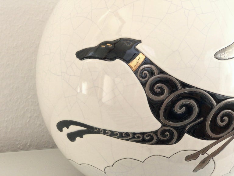 Fired Danillo Curetti Levriers Greyhound Vase Limited Edition from Emaux de Longwy For Sale