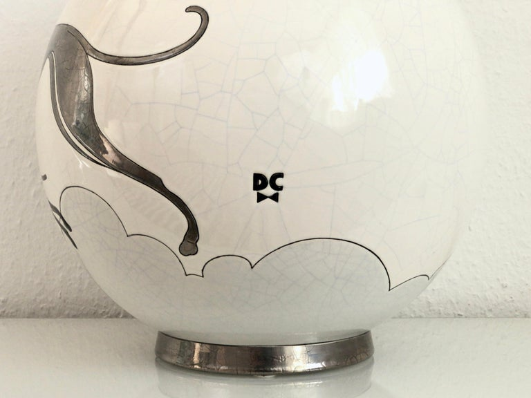 Contemporary Danillo Curetti Levriers Greyhound Vase Limited Edition from Emaux de Longwy For Sale