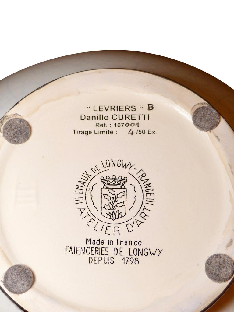 Danillo Curetti Levriers Greyhound Vase Limited Edition from Emaux de Longwy For Sale 1