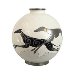 Danillo Curetti Levriers Greyhound Vase Limited Edition from Emaux de Longwy