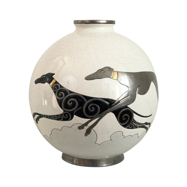 Danillo Curetti Levriers Greyhound Vase Limited Edition from Emaux de Longwy For Sale