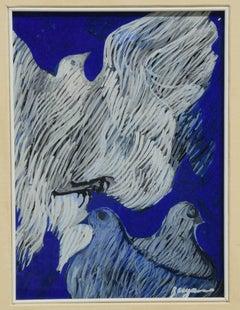 Doves - Original Oil Painting by Danilo Bergamo -  1960s