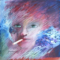 Smoke Portrait - Original Ink and Tempera and Oil Painting by D. Bergamo - 1969
