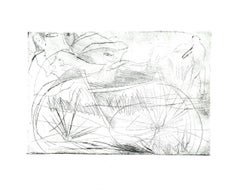 Bicycle - Original Etching on Cardboard by Danilo Bergamo - 1980s