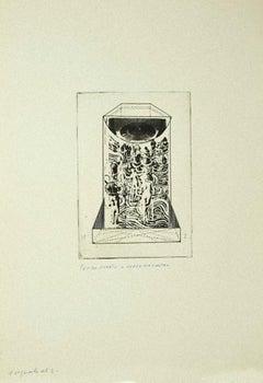 Composition - Original Etching on Cardboard by Danilo Bergamo - 1970s