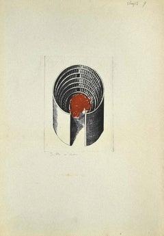 Composition - Original Etching on Cardboard by Danilo Bergamo - 1980s
