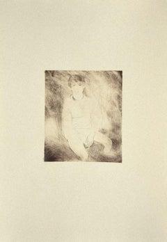 Figure - Original Etching on Cardboard by Danilo Bergamo - 1980s