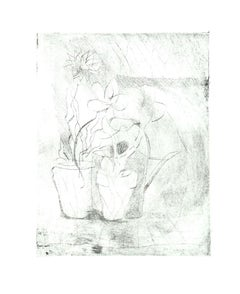 Vase of Flowers - Original Etching on Cardboard by Danilo Bergamo - 1980s