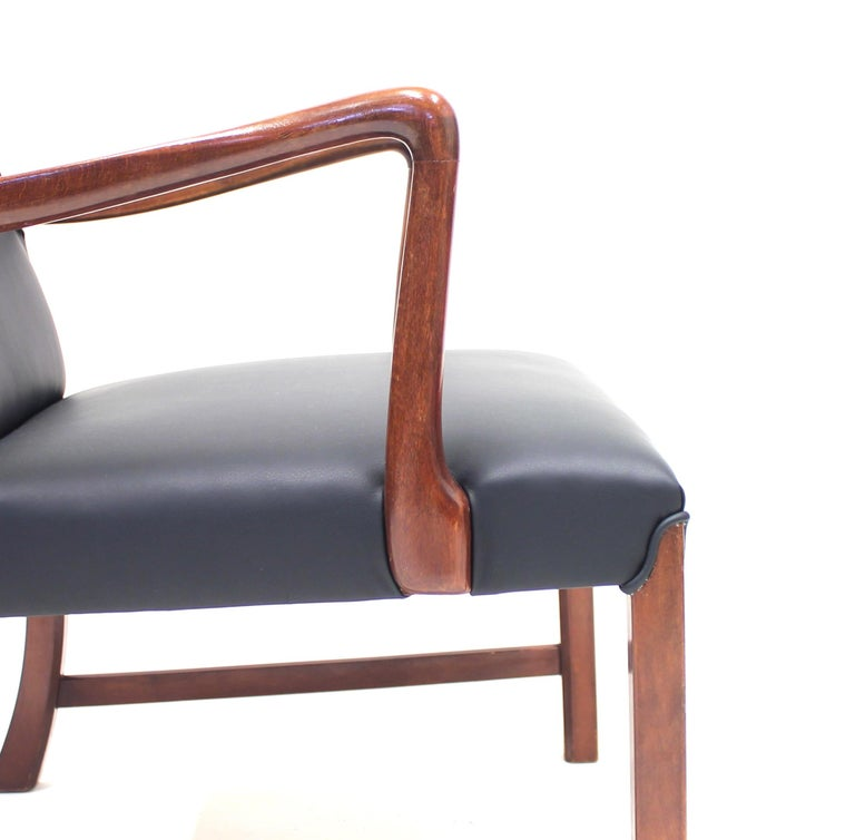 Danish 1756 Easy Chair by Ole Wanscher for Fritz Hansen, 1940s For Sale 4