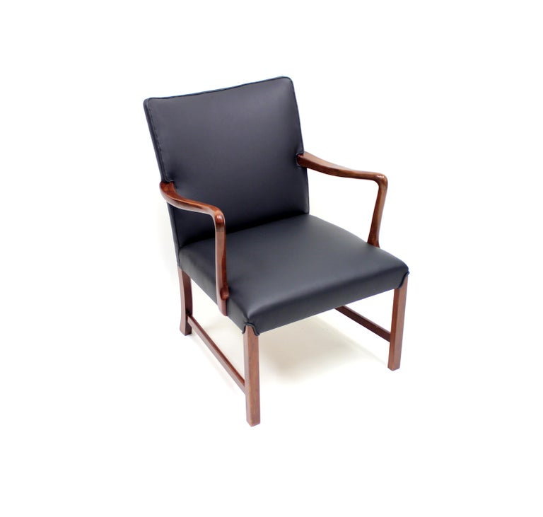 Scandinavian Modern Danish 1756 Easy Chair by Ole Wanscher for Fritz Hansen, 1940s For Sale
