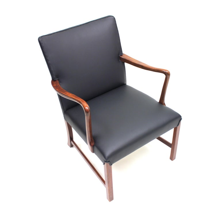 Danish 1756 Easy Chair by Ole Wanscher for Fritz Hansen, 1940s In Good Condition For Sale In Uppsala, SE