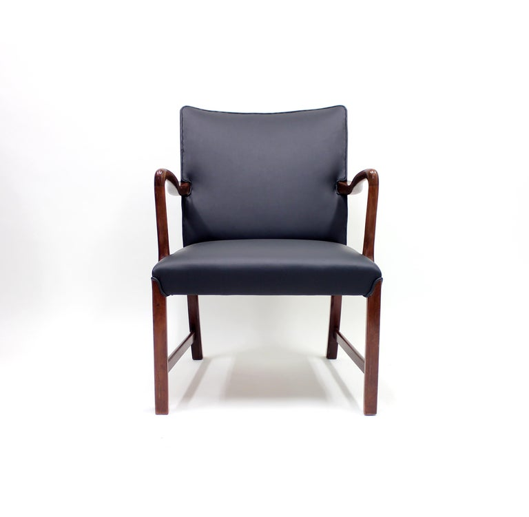 Mid-20th Century Danish 1756 Easy Chair by Ole Wanscher for Fritz Hansen, 1940s For Sale