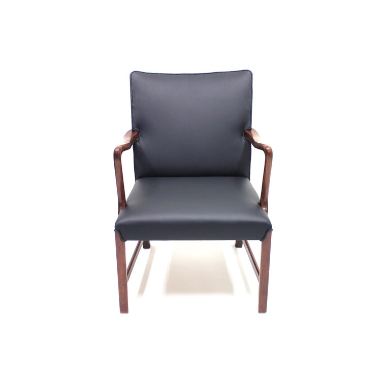 Leather Danish 1756 Easy Chair by Ole Wanscher for Fritz Hansen, 1940s For Sale