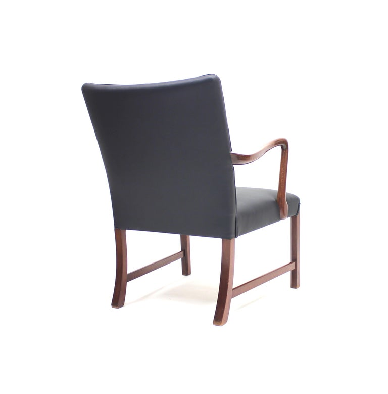 Danish 1756 Easy Chair by Ole Wanscher for Fritz Hansen, 1940s For Sale 3