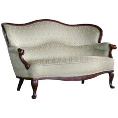 Danish 1860s Rococo Revival Settee or Loveseat in Carved Mahogany