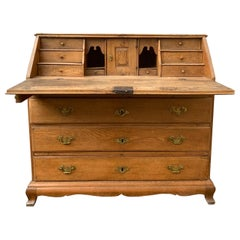 Danish 18th Century Baroque Oak Secretary Writing Desk