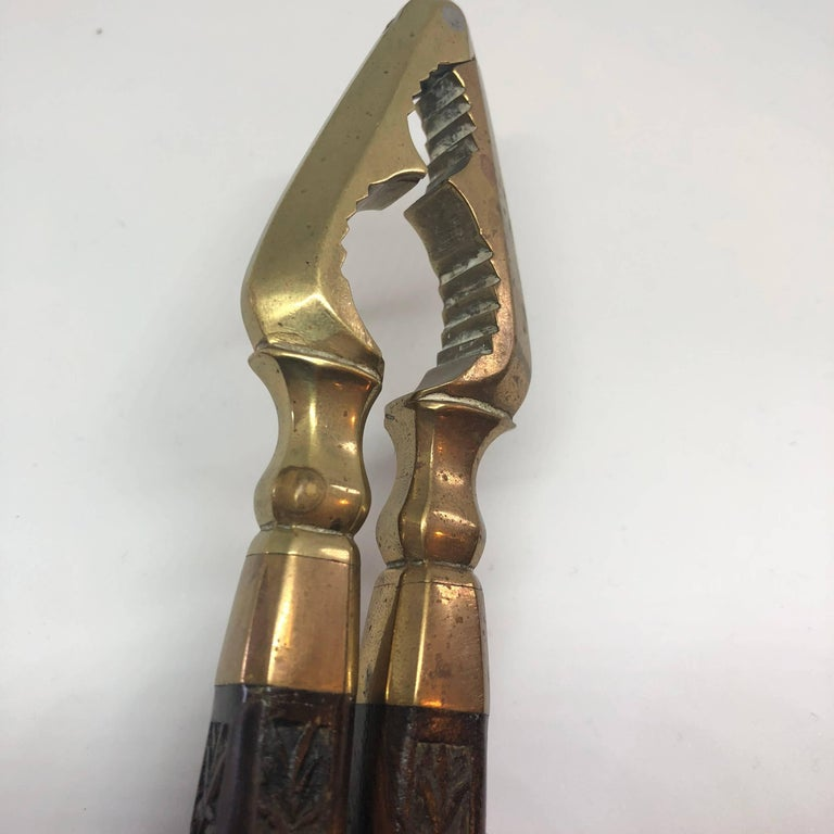 Danish 18th Century Brass And Wood Nutcracker For Sale 5