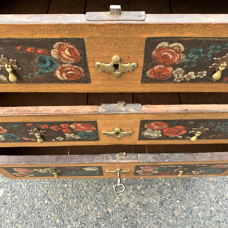 Danish 18th Century Flower Painted Folk Art Chest of Drawers For Sale 4