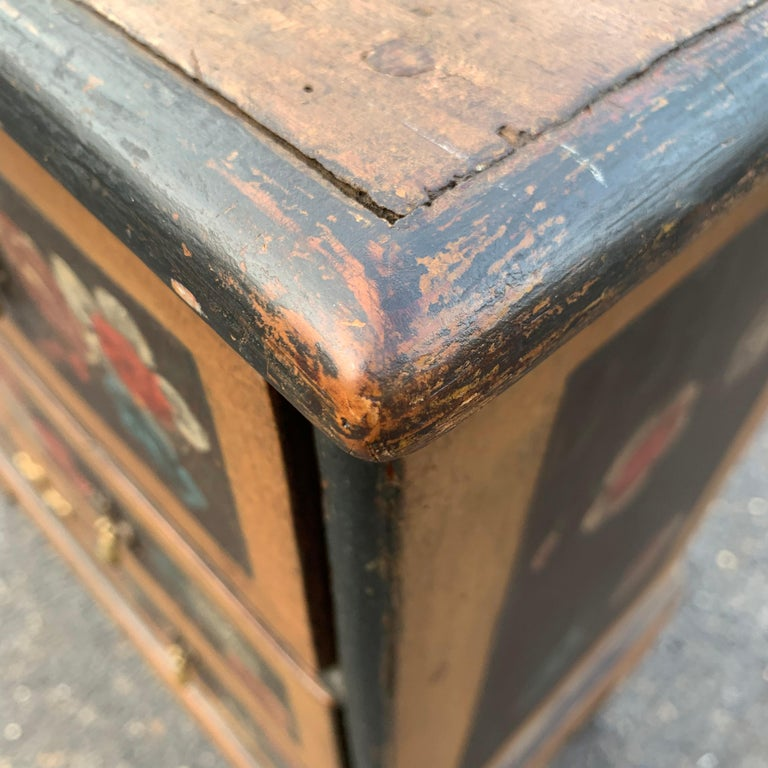 Danish 18th Century Flower Painted Folk Art Chest of Drawers For Sale 8