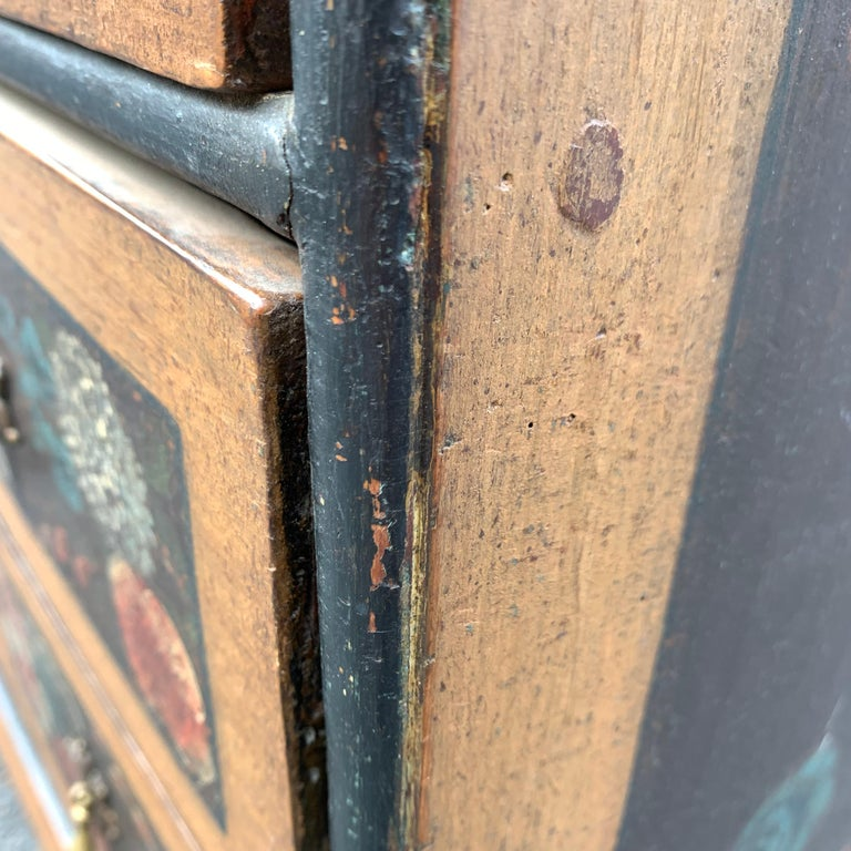Danish 18th Century Flower Painted Folk Art Chest of Drawers For Sale 9