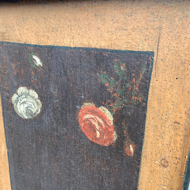 Danish 18th Century Flower Painted Folk Art Chest of Drawers For Sale 14