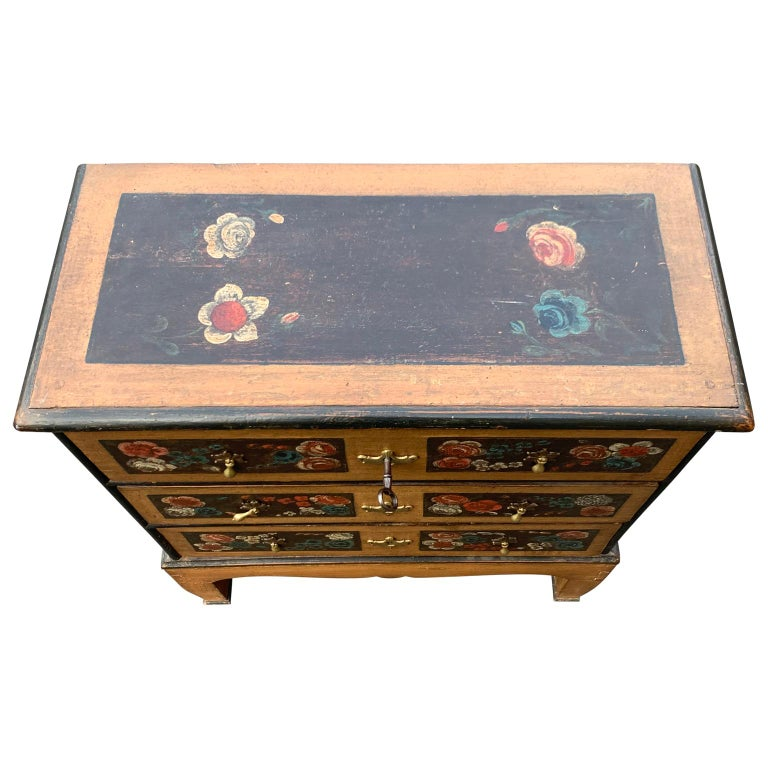 Hand-Painted Danish 18th Century Flower Painted Folk Art Chest of Drawers For Sale