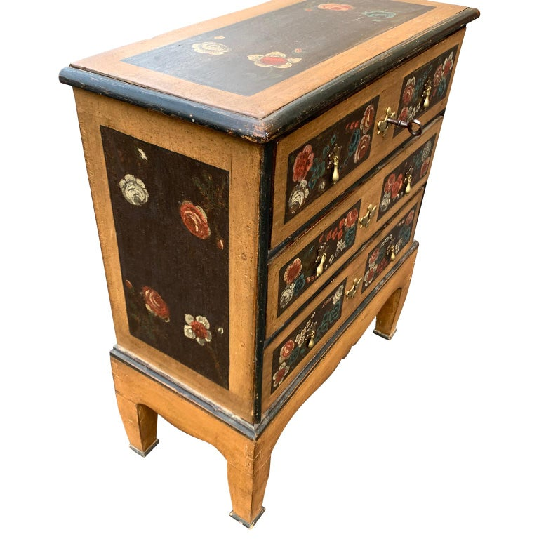 18th Century and Earlier Danish 18th Century Flower Painted Folk Art Chest of Drawers For Sale