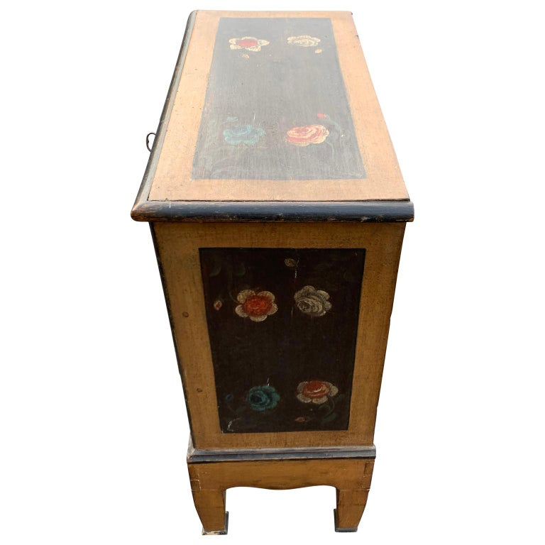 Wood Danish 18th Century Flower Painted Folk Art Chest of Drawers For Sale