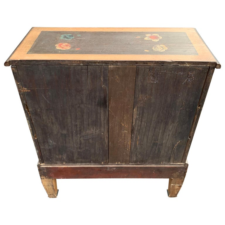 Danish 18th Century Flower Painted Folk Art Chest of Drawers For Sale 1
