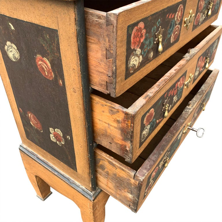 Danish 18th Century Flower Painted Folk Art Chest of Drawers For Sale 2