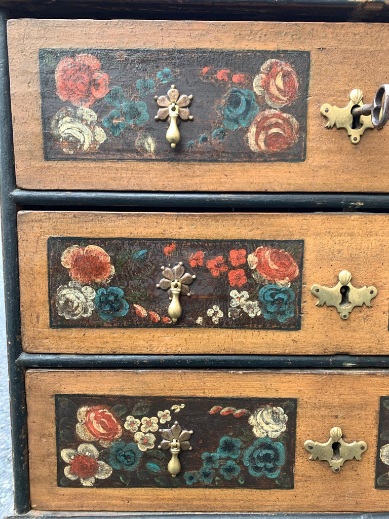 Danish 18th Century Flower Painted Folk Art Chest of Drawers For Sale 3