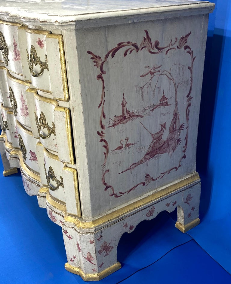 Danish 18th Century Painted Chest of Drawers With Chinoiserie Decor For Sale 9