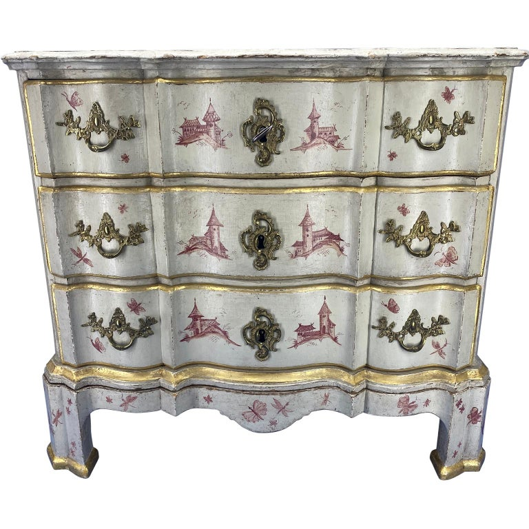 Danish 18th century painted Baroque 3-drawer chest with later chinoiserie decorations, brass hardware and locks.