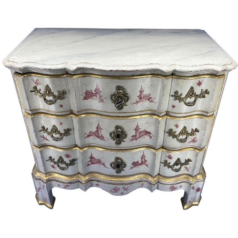 Baroque Danish 18th Century Painted Chest of Drawers With Chinoiserie Decor For Sale