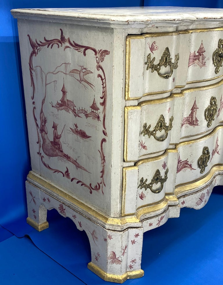 Hand-Painted Danish 18th Century Painted Chest of Drawers With Chinoiserie Decor For Sale