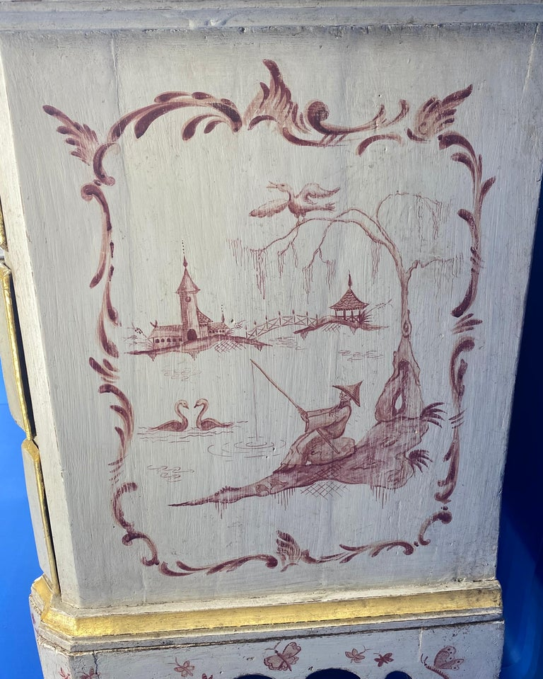 Wood Danish 18th Century Painted Chest of Drawers With Chinoiserie Decor For Sale