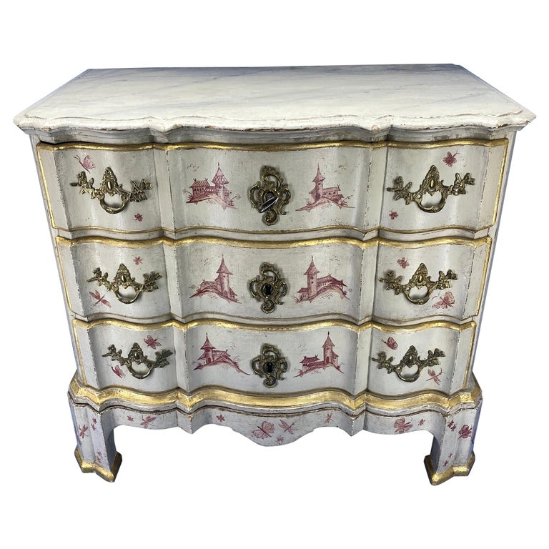 Danish 18th Century Painted Chest of Drawers With Chinoiserie Decor For Sale