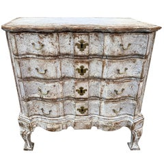 Danish 18th Century Painted Régence Chest of Drawers