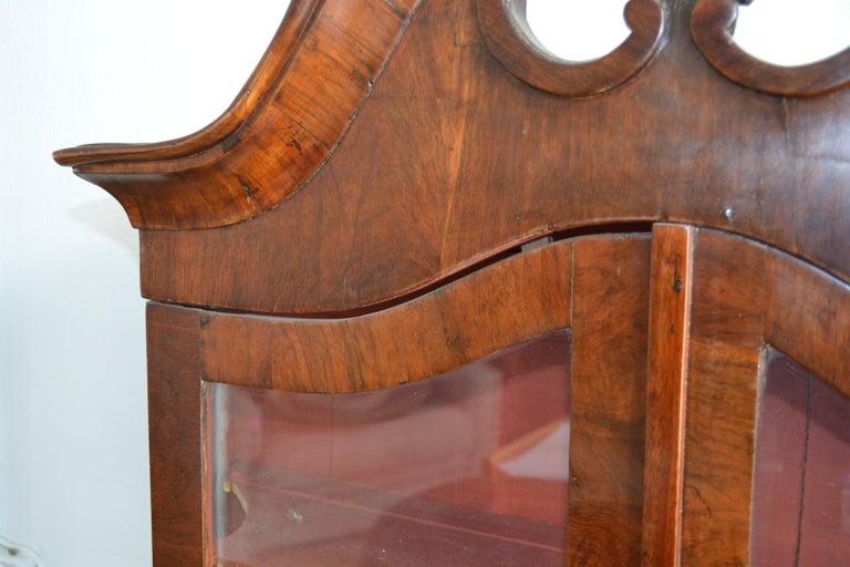 Danish 18th Century Walnut Veneer Wall Vitrine Display Case For Sale 9