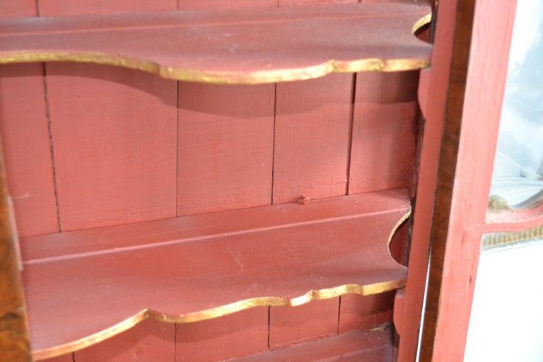 Danish 18th Century Walnut Veneer Wall Vitrine Display Case For Sale 5