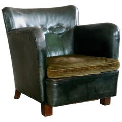 Danish 1930s Fritz Hansen Style Club Chair in Tufted Green Patinated Leather
