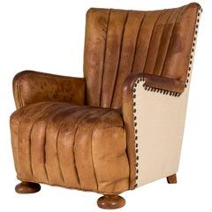 Danish 1930s Leather Lounge Chair