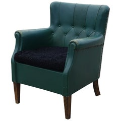 Danish 1930s Green Leather Club Chair
