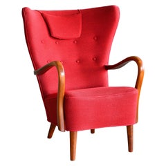 Danish 1940s Alfred Christensen Easy Chair with Open Elmwood Armrests