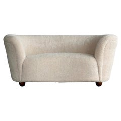 Danish 1940's Banana Shaped Curved Loveseat or Sofa Covered in Lambswool