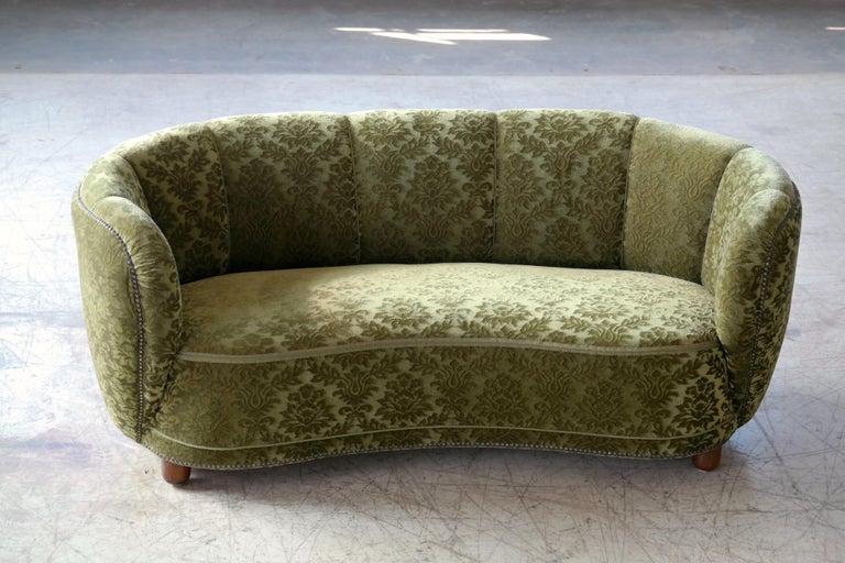 Mid-Century Modern Danish 1940s Banana Shaped Curved Sofa Covered in Original Velvet