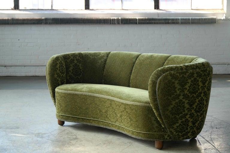 Mid-20th Century Danish 1940s Banana Shaped Curved Sofa Covered in Original Velvet