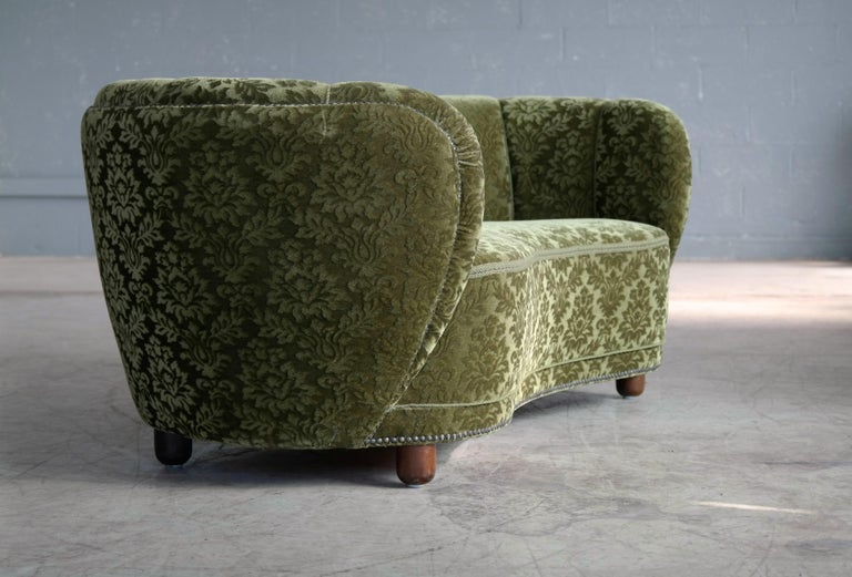 Wool Danish 1940s Banana Shaped Curved Sofa Covered in Original Velvet