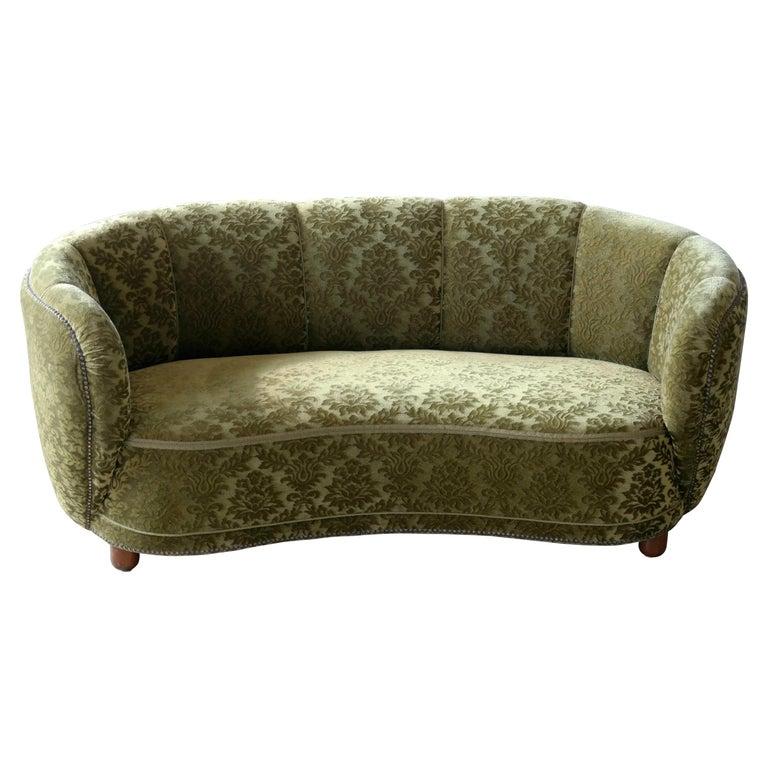 Danish 1940s Banana Shaped Curved Sofa Covered in Original Velvet