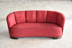 Danish 1940s Banana Shaped Curved Sofa